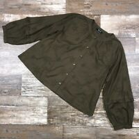 MADEWELL Womens Button Top Large Kale Green Embroider Balloon Sleeve Boho