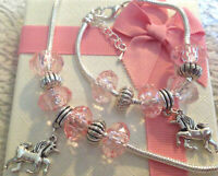 girls pink unicorn necklace bracelet set party gift choose charm and size