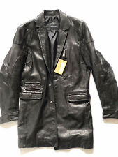 Dsquared Fighting Dude Collection Leather Coat, size 48IT/M