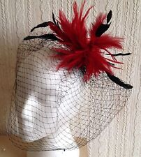 red feather fascinator black french veiling veil hair clip brooch headpiece