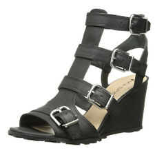 NEW! VIA SPIGA LUXIE WEDGE PLATFORM BLACK BUCKLE 8