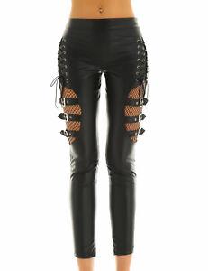 Lace Up Leather Women's Pants Mid Waist Fishnet Gothic Hollow Out Punk Leggings