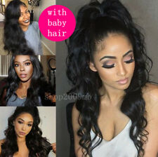 "24"" Women 360g Glueless Lace Front Full Wigs Body Wave Baby Hair Pre Plucked"
