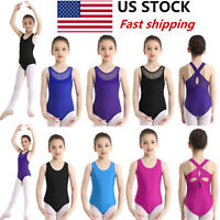 US Kids Girls Ballet Gymnastics Leotard Dance Dress Jumpsuit Dancewear Costumes
