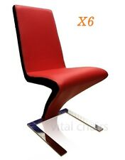 6 x NEW MODERN Z Design DINING TABLE CHAIR PU LEATHER CHAIRS RED with BLACK Trim