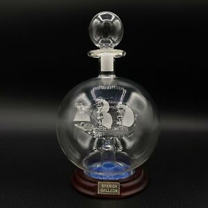 "VTG Glass Ship in a bottle Sculpture ""Spanish Galleon"" - EUC 6.75"" Tall"