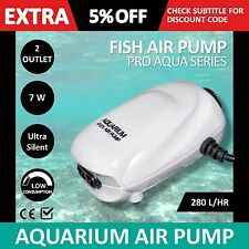 Ultra Silent Air Pump Fish Tank Aquarium Oxygen Pond Stone Bubble Water Aqua 7W