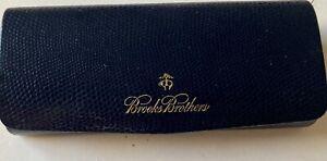 BROOKS BROTHERS-Navy Leather Hard Shell Eyeglass Case