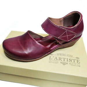 L'Artiste Purple Leather Mary Jane Spring Summer Shoes Gloss Sz 37 38 39 40 42
