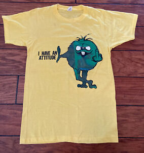 Vintage 80's Screen Stars T-shirt S Green Guy Monster Middle Finger Attitude