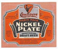 1/2 Gal. Nickel Plate Beer label, Irtp, Centlivre, Fort Wayne, Indiana, 64 ounce