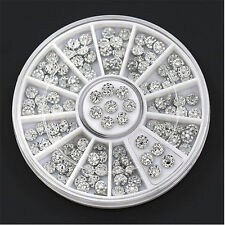 3D Nail Art Crystal Rhinestones Glitter Acrylic Studs Tips Decoration Wheel 4mm