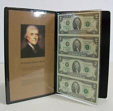 SHEET OF (4) UNCUT $2 BILLS RARE SERIES 2003 UNCIRCULATED W DISPLAY FOLDER & COA