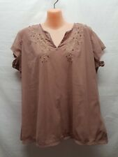JACQUI-E LIGHT BROWN EMBROIDERED SEQUINED  SIZE XL TOP SMART CASUAL WEAR