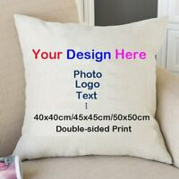 Personalised Photo Double-sided Print Canvas Cushion Cover Pillow Case Gifts CN
