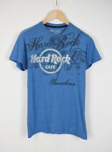 Hard Rock Cafe Barcelona Homme Petit Manche Courte Bleu Logo T-Shirt 39530_ Es