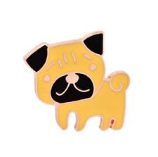 Pug Cachorro Perro Lindo Esmalte Placa/Broche Alfiler de oro./vintage regalo accesorio Boho Hazlo tú mismo