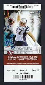 AARON HERNANDEZ FINAL TOUCHDOWN -2012 NFL NEW ENGLAND PATRIOTS FULL TICKET 12/16