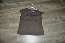Basic Editions XL Women's Brown Top Short Sleeve Tee 100% Cotton  Lace  Trimmed