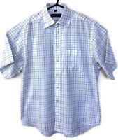 "Austin Reed Mens White UK 15.5"" Short Sleeved Shirt 100% Cotton White Check VGC"