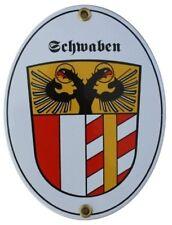 SCHWABEN Emaille Schild Email Gr. 11,5x15cm NEU Fahne Wappen Schwäbisch