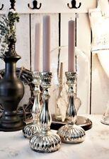 Kerzenleuchter Kerzenhalter Bauernsilber 25 cm Glas Kerzenständer Silber Shabby