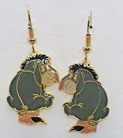 Disney Winnie The Pooh Eeyore Enamel Gold Tone Fish Hook Earrings