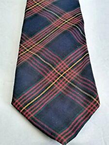 """Pendleton Mens Wool Blue Black Red Plaid Long Tall Silk Neck Tie 64""""x 3.5"""""""