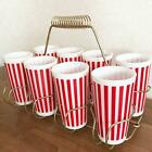 Hazel Atlas Retro Candy Stripe Red Tumbler 8 pieces Set Vintage Made in USA F/S