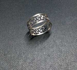 Vintage 925 Silver Open Greek Key Band Ring Size L