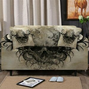 Gothic Skull Scary Sofa Couch Chair Cushion Stretch Cover Slipcover Set Decor