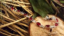 Armband Silber 925 Rubin Granat Steine