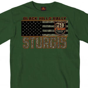 2019 Sturgis Motorcycle Rally American Flag Camo Skulls Design Green T-Shirt 792