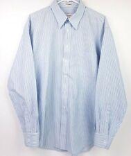 Pronto Uomo Mens 16 1/2 34/35 Blue Black Striped L/S Non Iron Button Down Shirt