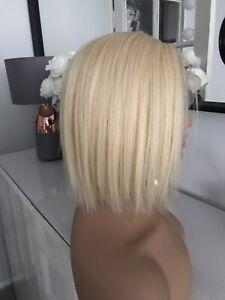 "613 Light Blonde Lace Front Bob 8"" Glueless 100% Virgin Human Real Hair Wig ."