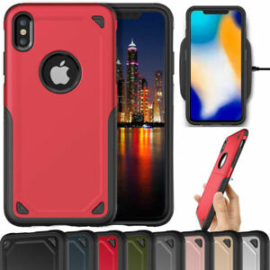 For iPhone X XR XS Max Heavy Duty Hybrid Shockproof Armor Bumper Cover Case i04