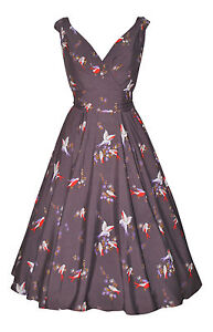 Vintage 1940's 1950's Grey Bird Belted Flared Tea Dress New Size 10