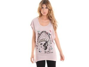 Rock & Revival Brown Skull & Indian Headdress Graphic T Shirt Top  Small 8  BNWT
