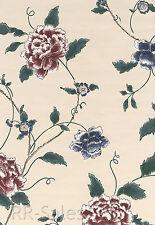 Burgundy Blue Cream Floral Large Blossom Vinyl Flower Vtg Double Roll Wallpaper