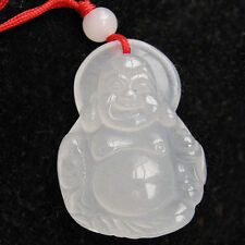 Big Delicately Carved White Jade Happy Buddha Amulet Pendant -with string cord
