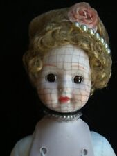 Vintage Porcelain Hertiage Dolls Music Doll with Curly Hair Netting Handpainted
