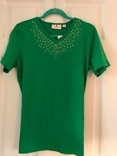 QUACKER FACTORY Kelly Green Short Sleeve Studded T-Shirt L