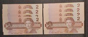 1986 Canada $2.00 Banknote 2 Consecutive Lots Of 4
