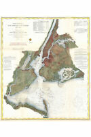USCS Nautical Chart of New York City & Harbor, Antique Map Vintage 1866