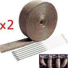"2 Roll x 2"" Titanium 50Ft Exhaust Header Fiberglass Heat Wrap Tape+12 Ties Kit"