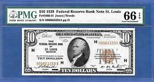 1929 $10   FRBN   ♚♚ ST. LOUIS ♚♚  PMG CEM UNC 66 EPQ