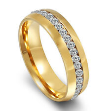 Men Women Stainless Steel Crystal Silver Gold Ring Band Fashion Jewelry 13Us