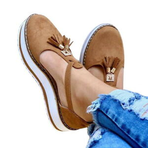 Women Tassel Round Toe T-Bar Sandals Casual Flat Chunky Ankle Strap Shoes Size