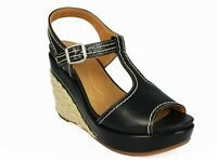 Nurture Shoes Mambo Women's Wedge Sandal, Black, Size 6