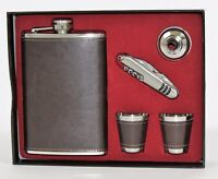 Hip Flask Stainless Steel Girls Night Out,Tartan & Leather in Diff. Colours-8oz